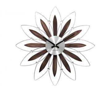 Wanduhr FLOWER Nussbaum Silber 50 cm