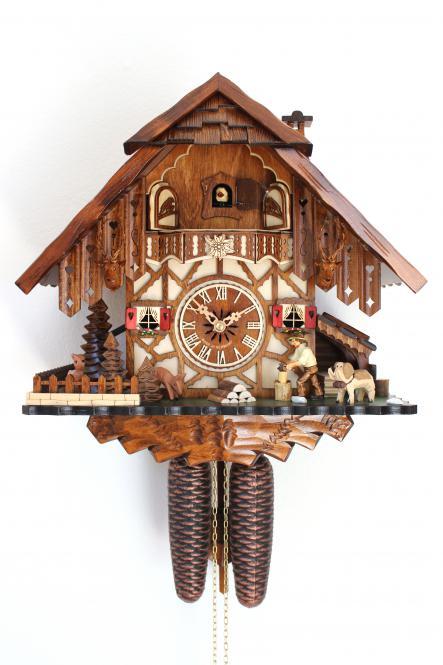 Original Schwarzwälder Kuckucksuhr 8 Tage Schwarzwaldhaus bewegl. Holzhacker NEU